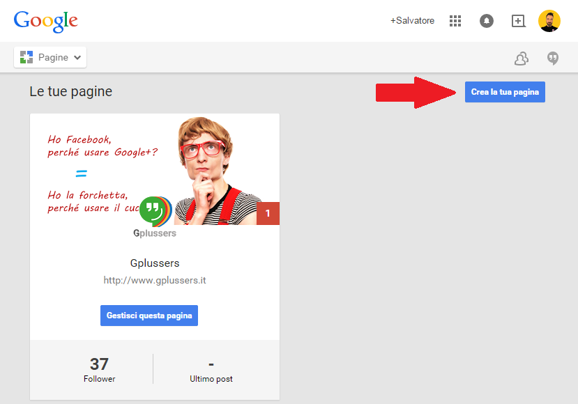crea una pagina Google Plus