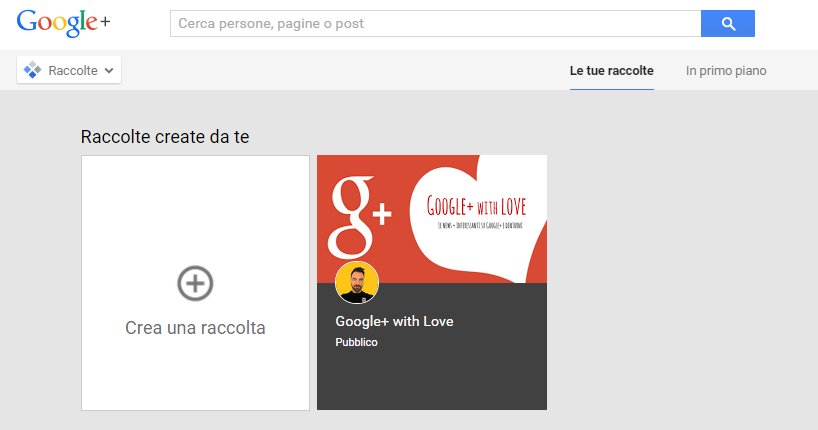 Crea raccolta Google Plus