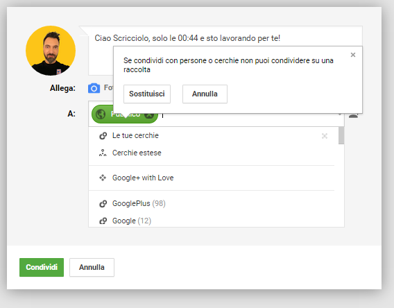 crea post raccolte google+
