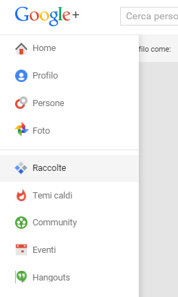 menu google plus raccolte