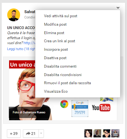 rimuovere post google plus raccolte